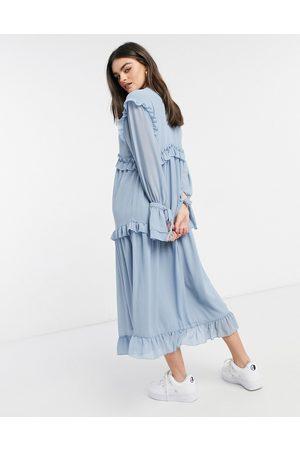 Pretty Lavish Ruffle smock dress with ruffle detail in slate blue