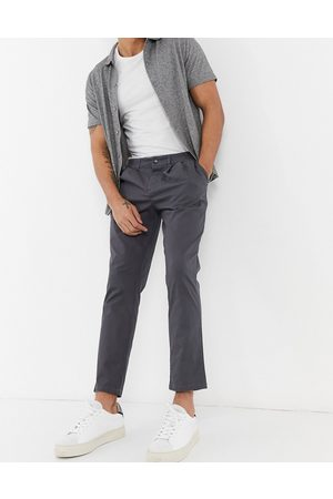 ASOS Cigarette chinos with pleats in charcoal