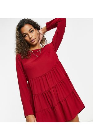 Missguided Tiered smock dress with long sleeves in burgundy
