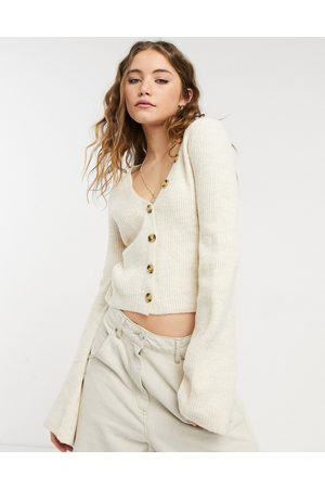Urban Bliss Button front cropped jumper in oatmeal