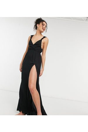 ASOS ASOS DESIGN tall recycled knot strap maxi beach dress in black