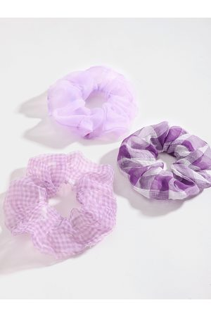 YOINS 3 Pcs Plaid Mesh Scrunchie