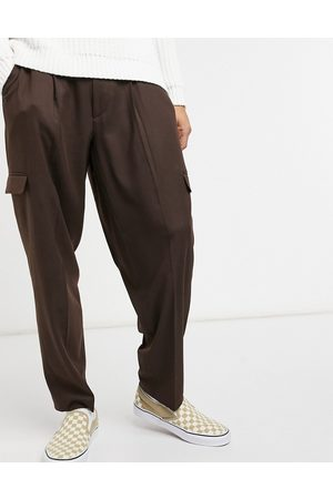 ASOS Oversized tapered cargo smart trouser in brown