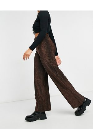 Pieces Crina wide leg high waisted trousers in brown