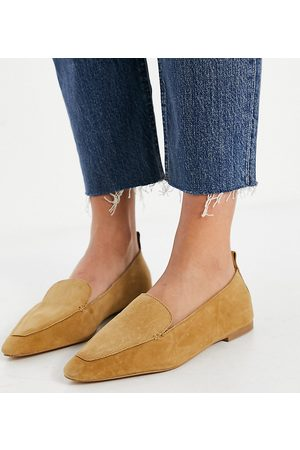 ASOS Wide Fit Miley suede loafers in taupe