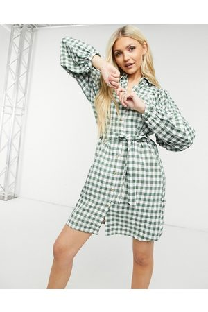 Vila Mini shirt dress with tie waist in check