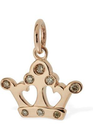 """Dodo Colgante """"corona"""" De Oro Rosa 9kt Y Diamantes"""