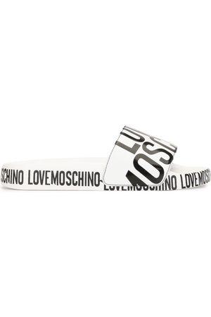 Love Moschino Logo print sliders