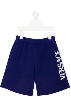 VERSACE Pantalones cortos de deporte con logo bordado