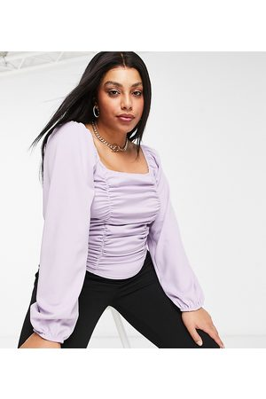 Missguided Long sleeve top with square neck in lilac