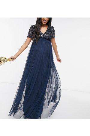 Maya Mujer Vestidos de noche - Bridesmaid v neck maxi tulle dress with tonal delicate sequin in navy