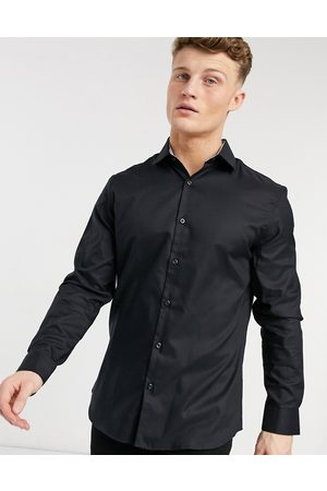 Selected Slim fit easy iron smart shirt in black