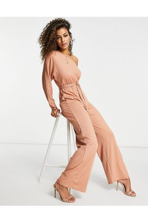 Club L Club L ribbed one shoulder jumpsuit in pink