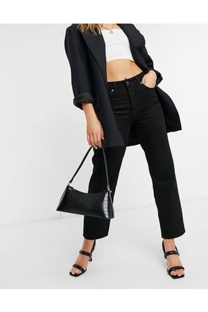 Selected Femme kate straight leg jeans with high waist in black