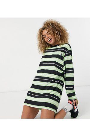 COLLUSION Pique stripe pocket detail long sleeve t shirt dress