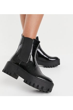 Simmi Wide Fit Simmi London Wide Fit Amana chunky ankle boots in black croc