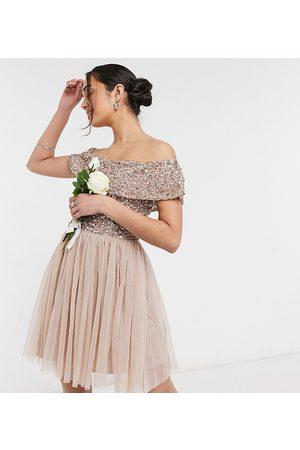 Maya Bridesmaid bardot mini tulle dress with tonal delicate sequin in taupe blush