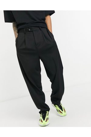 ASOS High waist slim smart trousers in black