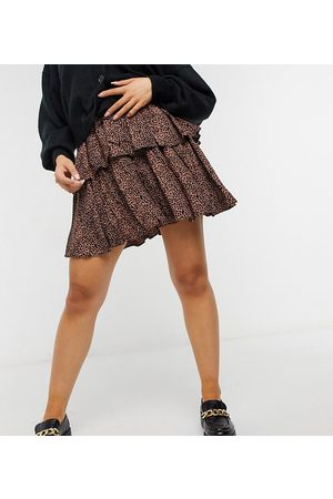 Y.A.S Mini skirt with tiering in animal print