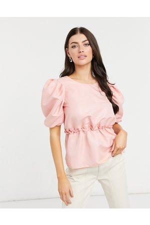 River Island Taffetta puff sleeve top in pink