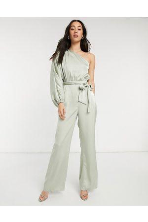 Pretty Lavish Mujer Largos - One shoulder volume sleeve jumpsuit in pistachio