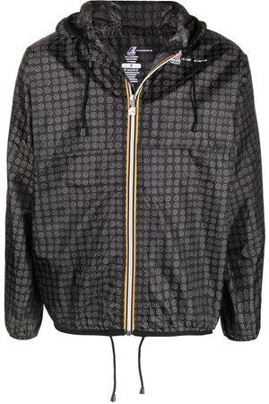 Graphic-print hooded raincoat