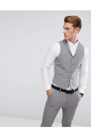 ASOS Super skinny suit waistcoat in mid grey