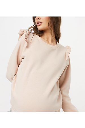 Mama Licious Mamalicious Maternity sweatshirt with frill shoulder detail in light pink