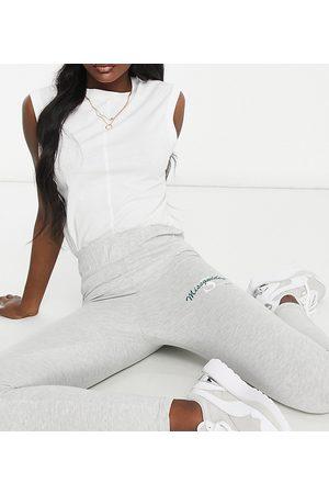 Missguided Legging with sports club logo in grey marl