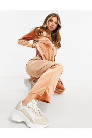Moda Minx Velour oversized shirt and wide leg jogger set in toffee