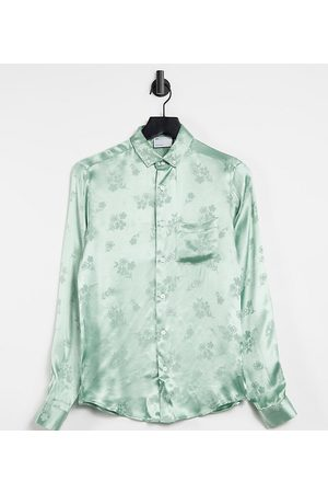 ASOS Regular fit shirt in floral jacquard in sage green