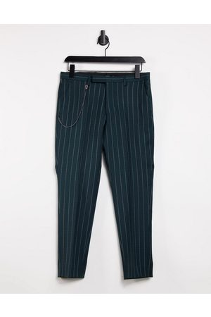 Twisted Tailor Tapered crop trousers in green pinstripe