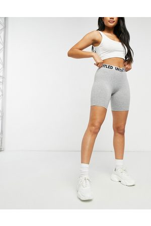 ASOS Hourglass legging short with elastic waistband detail in grey marl