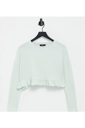 New Look Rib frill lounge top in sage green
