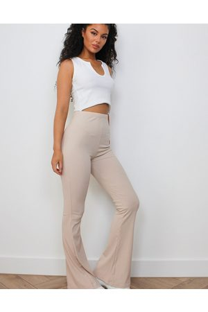 Missguided Ribbed flare trouser in stone