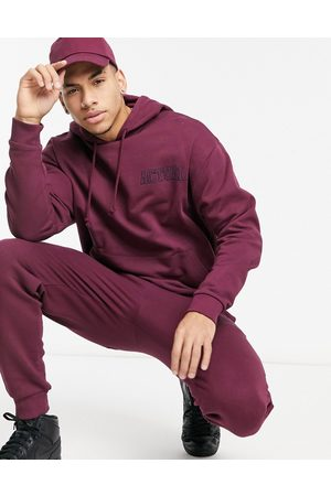 ASOS Actual Oversized tracksuit with embroidery in burgundy