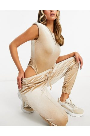 Moda Minx Velour body with shoulder pad detail and jogger in champagne