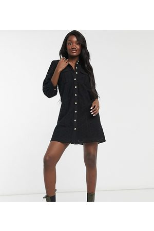 Vero Moda Mini lace shirt dress with puff sleeves in black