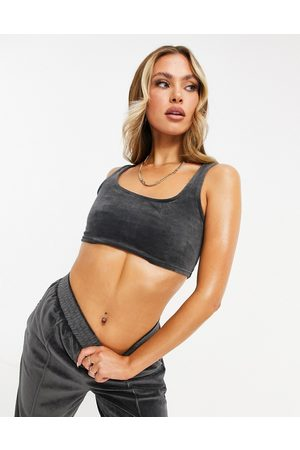 ASOS Mix & match lounge velour crop top in charcoal