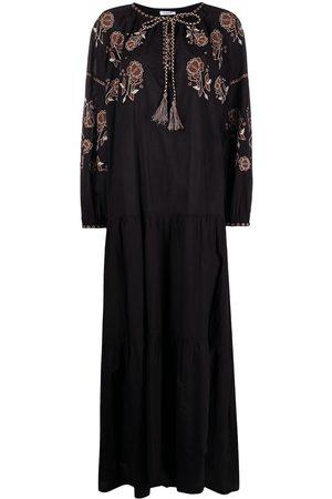 P.a.r.o.s.h. Vestido largo con bordado floral