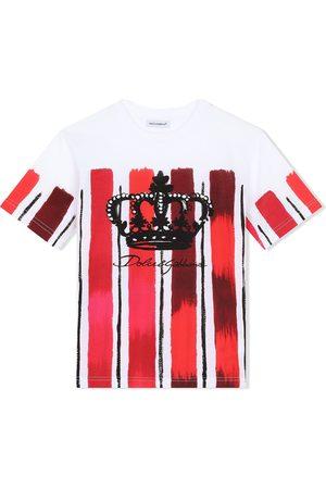 Dolce & Gabbana DG crown painted stripe T-shirt