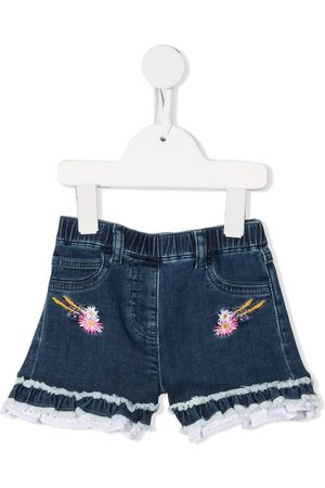 MONNALISA Embroidered-logo denim shorts