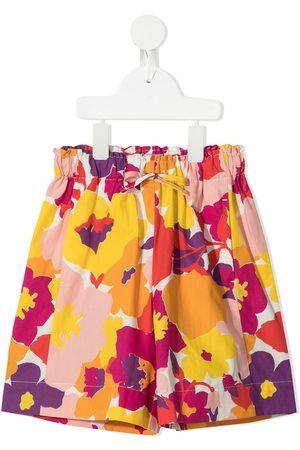 Il gufo Floral-print drawstring shorts