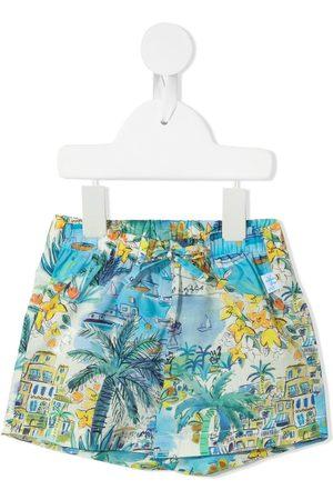 Il gufo Pantalones cortos con motivo de ciudad costera