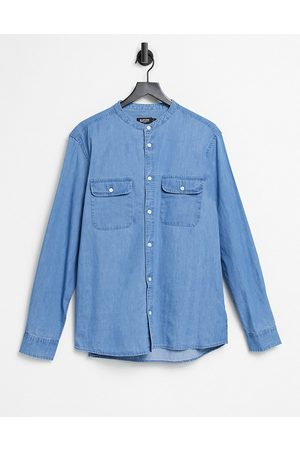 Burton Organic long sleeve denim grandad collar shirt in blue