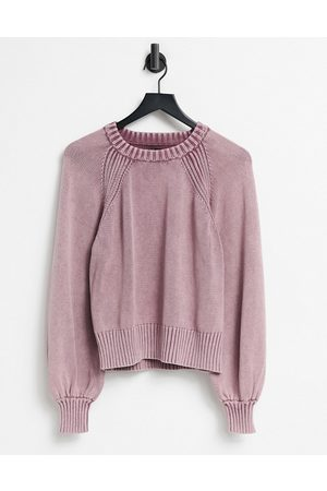 ASOS Jumper with stitch detail in acid wash in purple