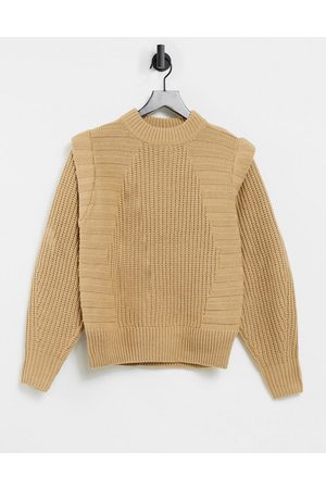 ASOS Jumper in mixed rib with shoulder detail in camel