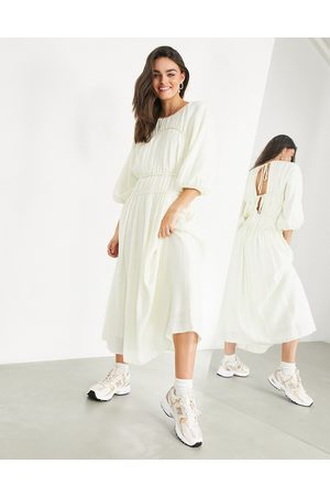 ASOS Smock dress with seam details in cream