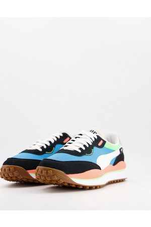 PUMA Style Rider Play On trainers in blue and black