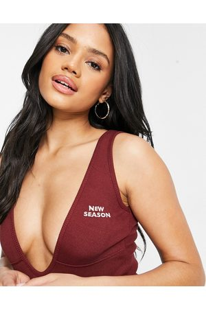 Public Desire Plunge body with logo front in chocolate